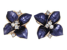 Gold Elegant Midnight Purple Flower Clear Rhinestone Center Fashion Earrings New