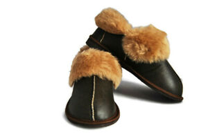 Natural Warm Cozy Leather BROWN Wool Sheepskin Fur Slippers Boots PERFECT GIFT