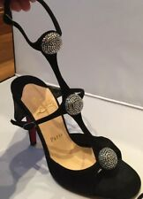 Amazing & Rare Christian Louboutin Black Suede Spartenvol Sandals, Size 36, New