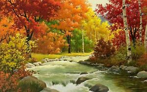 "Autumn Stream  PICTURE CANVAS WALL ART 20""X30"""