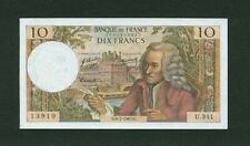 """FRANCE   1967  """"VOLTAIRE""""  10 FRANCS BANKNOTE, PICK#147c, ALMOST UNCIRCULATED"""