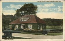 Newport RI Naval Training Station Bldg & Cannons c1920 Postcard