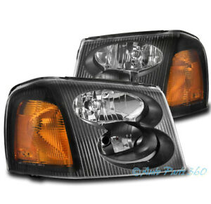 FOR 02-09 GMC ENVOY XL XUV FACTORY STYLE REPLACEMENT HEADLIGHT LAMP BLACK/AMBER