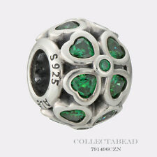 Authentic Pandora Sterling Silver Green CZ  Lucky Clover Bead 791496CZN