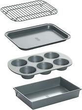 New listing Chicago Metallic Non-Stick Toaster Oven Bakeware Set, 4-Piece, Carbon Steel New
