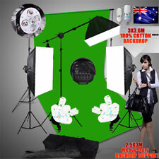 Green Screen Muslin Backdrop Support Set+Studio Softbox Lighting Boom Stand Kit
