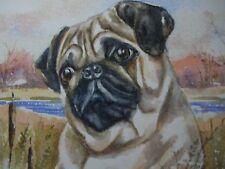 Original Pug dog animal Landscape  Watercolor Painting