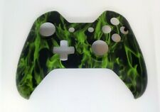 """Custom Xbox One Controller """"Green Flames"""" Front Shell w/tools (Matte)"""