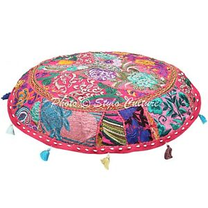Indian Round Floor Pillow Cover Vintage Patchwork Bohemian 22x22 Cotton Hassock