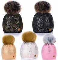 Women Ladies Winter Beanie Hat Knitted CRYSTAL Fashion Large Pom Pom Soft Fleece