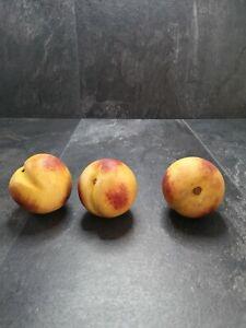 """PR Antique Italian Cararra Marble Alabaster Stone Fruit 3"""" Peaches Wood Stem"""