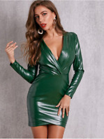 Green Shawl Collar Long Sleeve PU Cocktail Party Bodycon Slim Dress Sz S M L XL