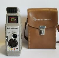 1950s Bell & Howell Model 8mm Film 319 Movie Camera & Cowhide LeatherCase