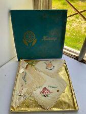 Vintage NOS Handkerchiefs In Original Box Swiss Hand Loom Embroidery 25