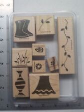 STAMPIN UP FLOWER FILLED SET OF 9 WOOD STAMPS EUC A7436