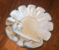 """Vintage Made in Germany Decorative Ashtray 6"""" Porcelain White Gold W/Pipe Circle"""