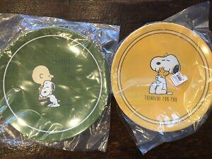 Pottery Barn Kids Peanuts Snoopy Woodstock Plates Thanksgiving Set Of 2