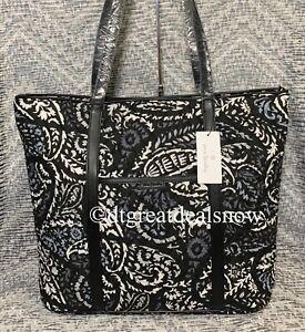 Vera Bradley Trimmed Vera Tote Bag, Zip Top, Paisley Noir   25096-P70