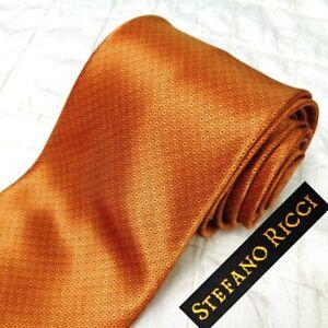 STEFANO RICCI Italy Glossy Lt Brown 100% Silk Neck Tie Tiny Black Medallions XL