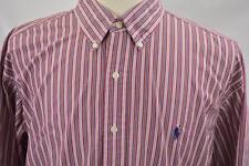 Ralph Lauren XL Blake Red Stripe Long Sleeve Dress Shirt VTG Blue Pony Polo Logo