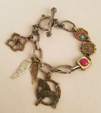 Lucky Brand Toggle Charm Bracelet Crane Floweer Wings Silver Tone Pink Blue
