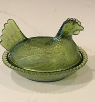 Vintage Indiana Glass Hen On Nest Olive Green Chicken Candy Dish Bowl With Lid