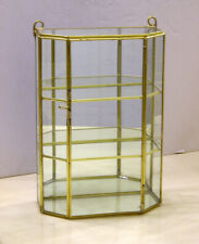 """10"""" Tall Glass and Brass Three Shelves Curio Display Cabinet"""