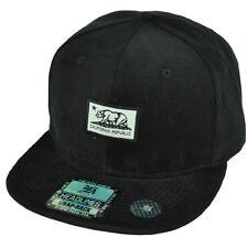 Cali California Republic Bear Logo Woven Label Corduroy Hat Cap Snapback Black