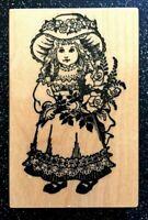 "Vintage Rubber Stamp ""Victorian Girl w/ Rose Bouquet"" PSX Designs 3 1/2 x 2 1/4"""