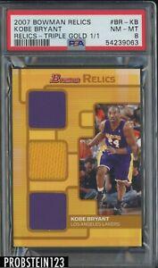 2007 Bowman Gold Kobe Bryant Lakers HOF Triple Jersey 1/1 PSA 8 NM-MT
