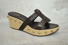 SERGIO ROSSI Brown leather studded wedge mule sandals 37 4 Box & Dustbag