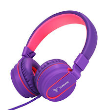 Yomuse Folding On Ear Women Kids Girls Headphones for iPhone DVD MP3 Pink Purple