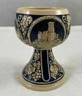 "Vintage German Ceramic Chalice Goblet 5"" Marked Cobalt Deutches Eck Burglandshut"