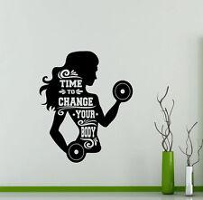 Gym Wall Decal Girl Woman Fitness Sport Vinyl Sticker Art Decor Mural 134gy
