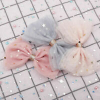 Pretty Bling Stars Hair Bow Hair Clips Girls Glitter Knot Hair Acces Mesh&Lace
