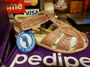 NEW Pediped NIKKI Girls Rose Gold Open Toe Kid Toddler Sandals 7T US / 23 EUR
