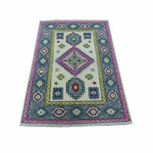 """3'1""""x4'9"""" Colorful Ivory Fusion Kazak Pure Wool Hand Knotted Oriental Rug R55410"""