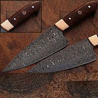 WHITE DEER Custom Made Damascus Steel Chef Knife Rose Wood Handle
