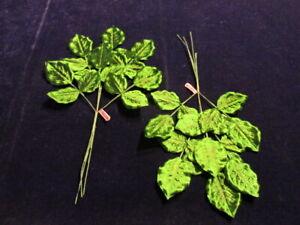 """Vintage Millinery Flower Green Leaf Trim 2 Stems of 18 Satin 1 3/4-2"""" Leaves KC2"""