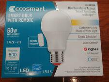 EcoSmart Smart Bulb w/ Remote - Color Temp, Zigbee, Echo Alexa, SmartThings 60W