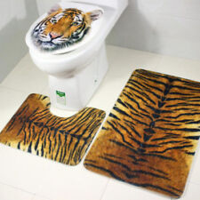 3x Tiger Animals Print Flannel Toilet Lid Non Slip Bath Mat Bathroom Rug Set