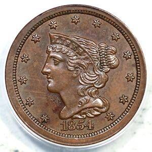 1854 ANACS MS 60 Details Braided Hair Half Cent Coin 1/2c