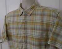 Mens Patagonia Organic Cotton Plaid Short Sleeve Shirt Button Front Size L