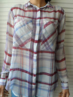 NEW WOMAN'S LADIES LIGHTWEIGHT CHECK SHEER cool ELEGANT LONG SLEEVE BLOUSE