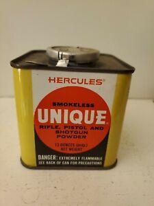 Vintage Hercules Smokeless Unique Gun Powder 13oz Tin Can (Empty)
