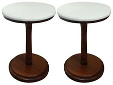Small End Table Mahogany Wood Terrazzo Marble Top Accent Plant Stand set of 2