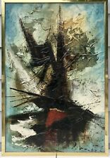 Original Mid Century Modern Abstract Expressionist Painting Signed ?