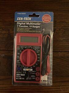 Cen-Tech 7 Function Digital Multimeter 19 Ranges, Backlit LCD, New