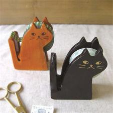Cute Cat Shape Wooden Tape Dispenser Tape Cutter Cutting Office School Supplies