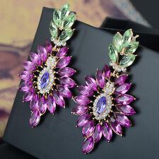 Women;'s Purple Rhinestone Statement Chandelier Dangle Hook Earrings 1 Pair